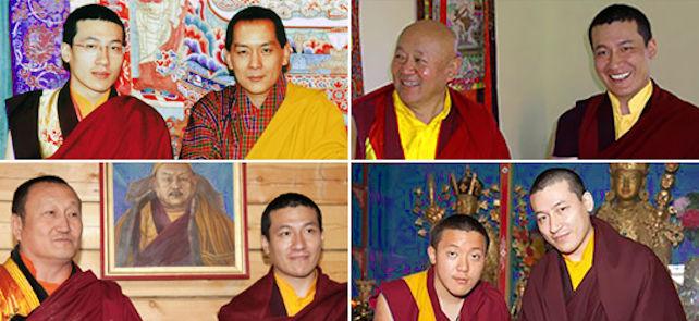 17. Karmapa ja (vasemmalta ylhäältä) Bhutanin kuningas Jigme Wangchuk, Drikung Chetsang Rinpoche, Hambo-lama Damba Ayusheeyev, Dilgo Khyentse Yangsi Rinpoche
