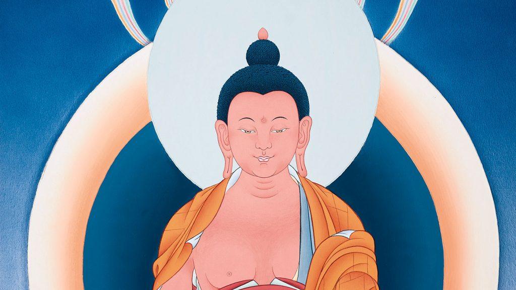 Buddha Amitabha – seinämaalaus Karma Guenin retriittikeskuksessa