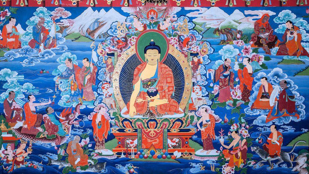 Buddha Shakyamuni – seinämaalaus Kööpenhaminen Timanttipolku-buddhalaisessa keskuksessa