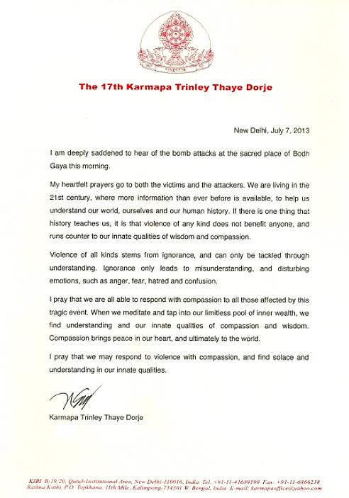 H.P. 17. Karmapan Trinely Thaye Dorjen kirje Bodhgayan terrori-iskun johdosta