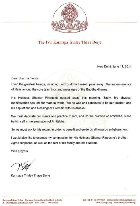 Gyalwa Karpaman kirje Shamar Rinpochen poismenon johdosta