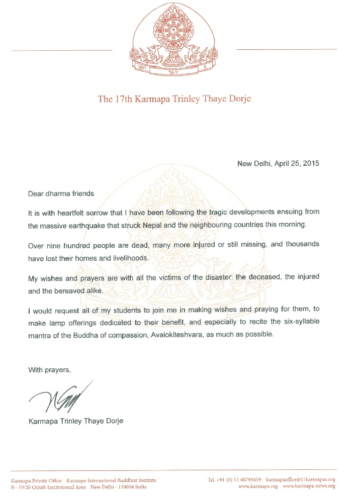 H.P. 17. Karmapan Thaye Dorjen osanottokirje Nepalin maanjäristyksen johdosta