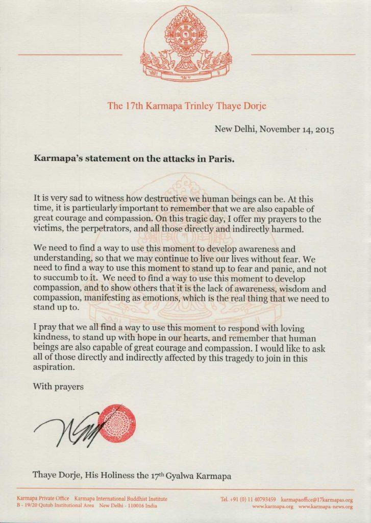 Karmapan lausunto Pariisin iskuista
